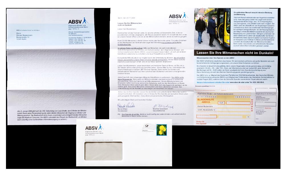 Fundraisingkampagne - Mailing mit Blindprägung