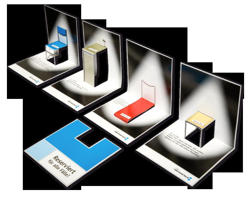 Vierstufige Mailingaktion. In jeder Stufe ein anderes 3-D Mietmöbel zum ausklappen