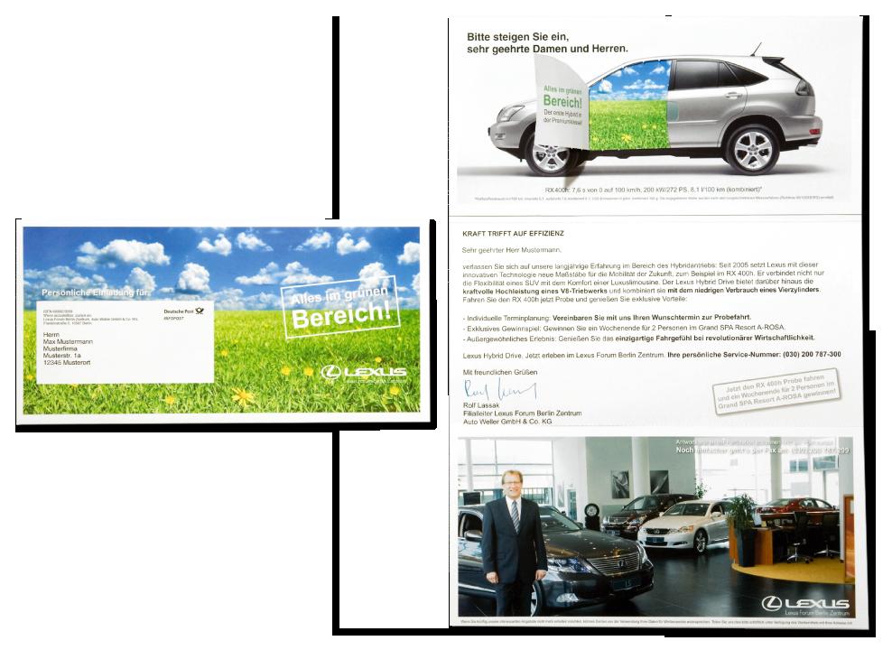 Kunde: Lexus Forum Berlin / Maßnahme: Stufe 1 – Selfmailer mit Autotür zum öffnen