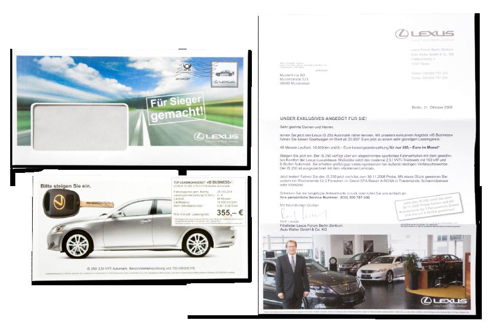 Kunde: Lexus Forum Berlin / Maßnahme: Stufe 2 – Mailing mit Responsekarte und Mailingverstärker