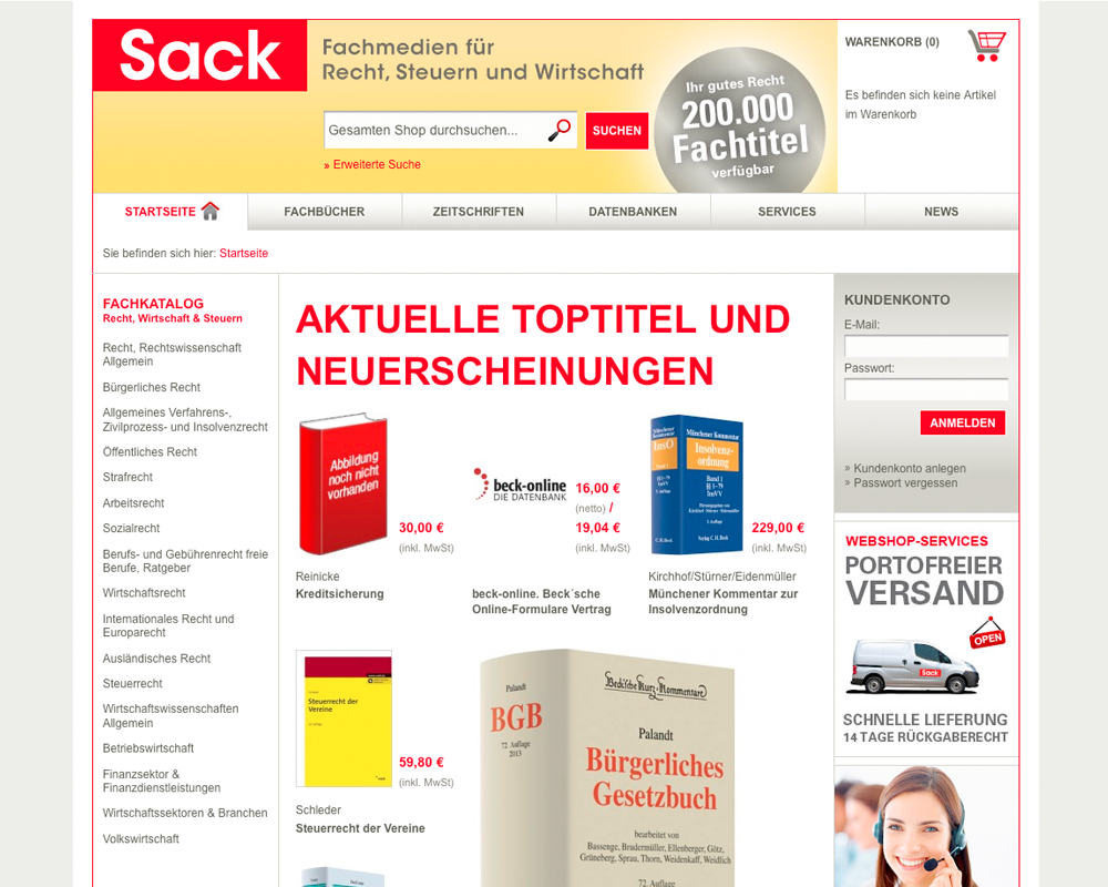 Kunde: Sack Mediengruppe / Maßnahme: Screendesign Webshop