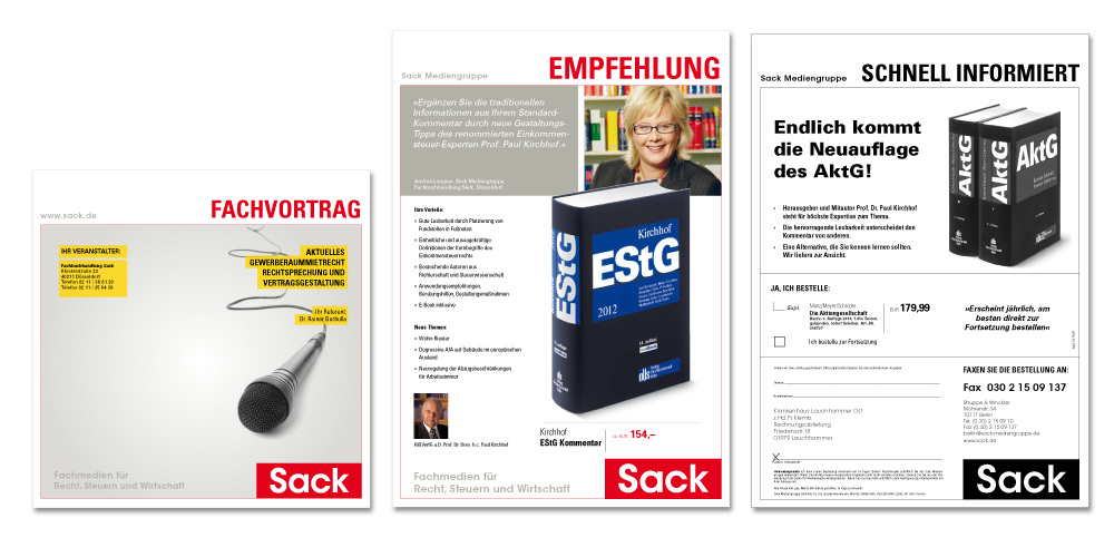 Kunde: Sack Mediengruppe / Maßnahme: Einladungsmailing, Empfehlungsmailing, Faxmailing